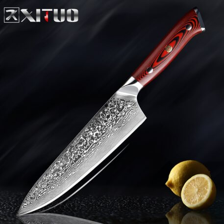 XITUO Damascus Steel Chef Knife Professional Japanese Santoku knife Ultra Sharp Cleaver Slice Knives Best Choice for Kitchen
