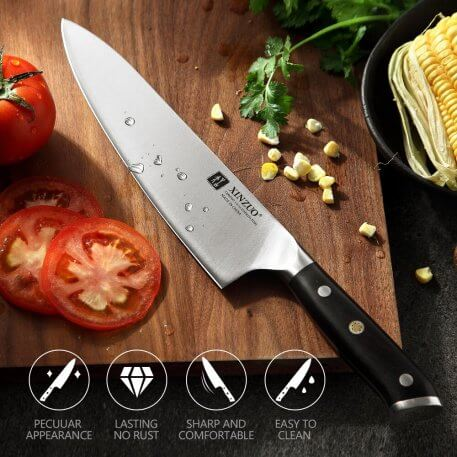 XINZUO 3 Pcs Chef+Santoku+Utility Kitchen Knife Set Germany 1.4116 High Carbon Stainless Steel New Super Sharp Cooking Knives