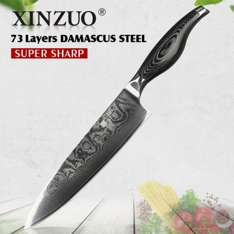 XINZUO 8 inches Chef Knife Damascus Steel vg10 Kitchen Knives Stainless Steel Gyutou Knife Kitchen Cultery with Pakkawood Handle