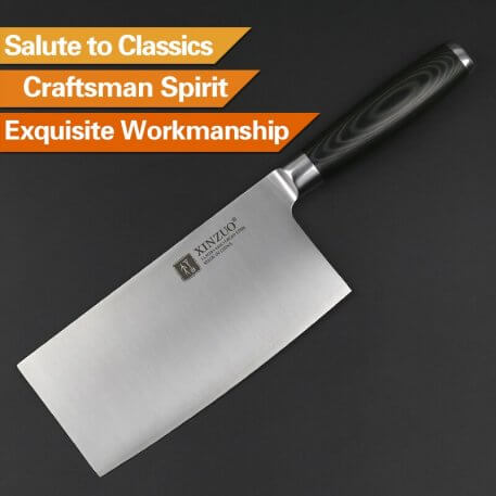 """XINZUO 7"""" Big Knife Best Quality German 1.4116 Stainless Steel 58HRC Kitchen Knife Chinese Cleaver Slice Knives Micarta Handle"""