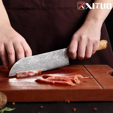 XITUO Damascus Steel VG10 Santoku Knife Chef Knife Raw Fish Fillet Fish Kitchen Knife Blue Resin Color Wood Handle Cooking Tool