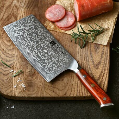 """XINZUO 6.5"""" Slicing Knife Damascus Stainless Steel Big cleraver Knives High Quality Japanese Steel Chef Knife Rrosewood Handle"""