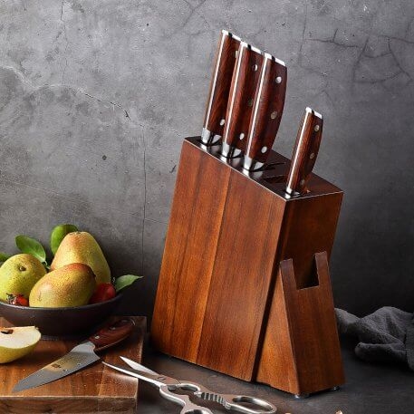 XINZUO Wood Kitchen Knife Holder Multifunctional Storage Rack Tool Holde Knife Block Stand Kitchen Accessories