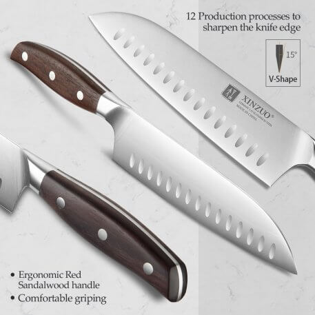 XINZUO High Quality Stainless Steel 7'' Santoku Knife Din 1.4116 Slicing Chef Kitchen Knives Red Sandalwood Handle Cook Cutter