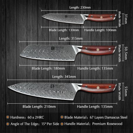 XINZUO 3PCS Kitchen Knives Set Damascus Steel Japanese Style Sharp Vegetables Meat Cleaver Paring Chef Knife Mosaic Rivet Handle