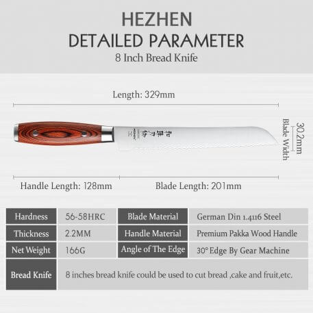 HEZHEN 8 Inches Bread Knife High Carbon Stainless Steel Pakka Wood Handle German DIN1.4116 Steel Beautiful gift box Kitchen Tool