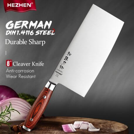 HEZHEN 8 Inches Cleaver Knife Stainless Steel High Carbon German DIN1.4116 Steel Slicing Kitchen Tool Cook Knives