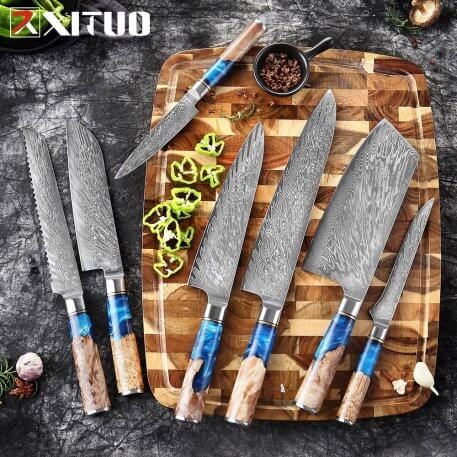 XITUO Kitchen Knives-Set Damascus Steel VG10 Chef Knife Cleaver Paring Bread Knife Blue Resin and Color Wood Handle Cooking Tool