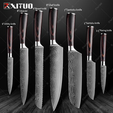 XITUO Kitchen Knives set Chef knife High Carbon Stainless Steel Santoku knife Sharp Cleaver Slicing Knife Best Choice for Kitche