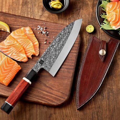 XINZUO Pro 180mm Gyuto Knife with Leather Sheath High Carbon 110 Layers Damascus 60±1 HRC Deba Fish Head Knife Rosewood Handle