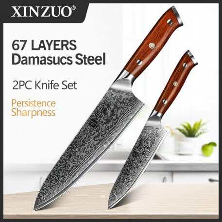 XINZUO 2PC Kitchen Chef Knife Sets Damascus Steel Professional Chef Utility Knives Stainless Steel Meat Cutter Barbecue Knives
