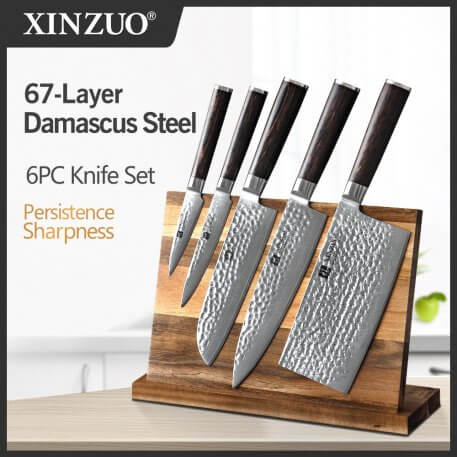 XINZUO 6PCS Damascus Steel Knife Sets Acacia Wood Magnetic Knife Holder Knife Block Knife Stand Storage Organizer For Knives Set
