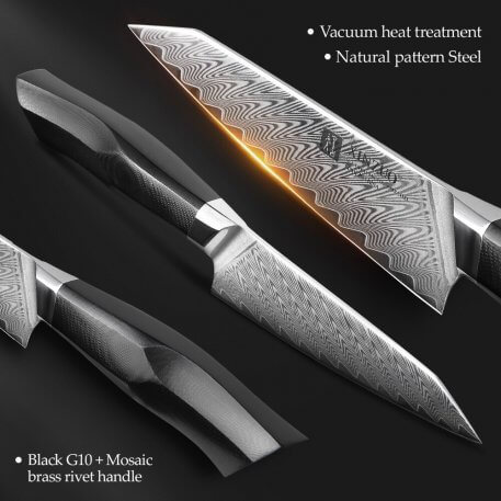 XINZUO 5'' Utility Knife High Carbon Damascus Steel Kitchen Knives Strong Hardness Kitchen Knives G10 Mosaic Brass Rivet Handle