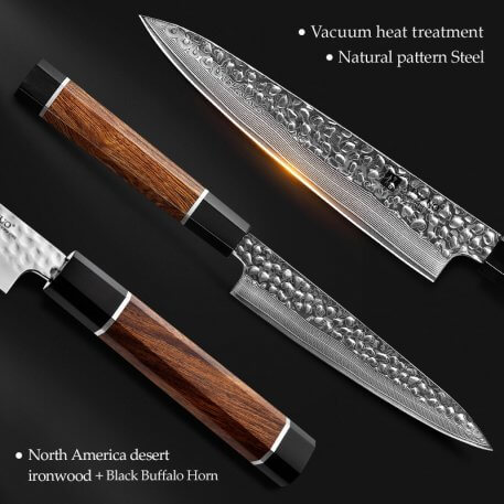 XINZUO 6'' inch Utility Knife 67 Layers Japanese Damascus Steel Kitchen Knife Sharp Multi-purpose Knives with Ironwood Handle