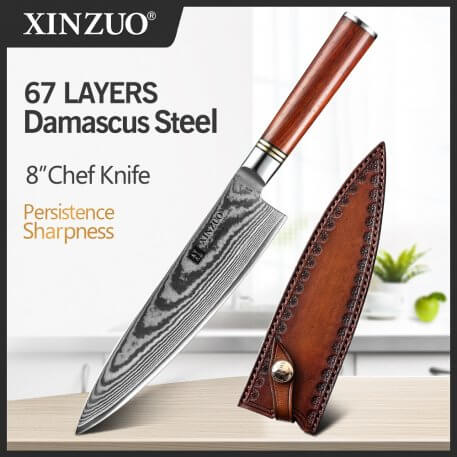 XINZUO 8'' Chef's Knife 67 layers Japanese Damascus Kitchen Knife Kitchen Stainless Steel Tool Gyuto Knives Rose Wood Handle