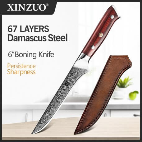 """XINZUO 6"""" inch Boning Knife 67 layers Damascus Kitchen Ultra Sharp Fish Filleting Knives Cutting Carving Tools Rosewood Handle"""