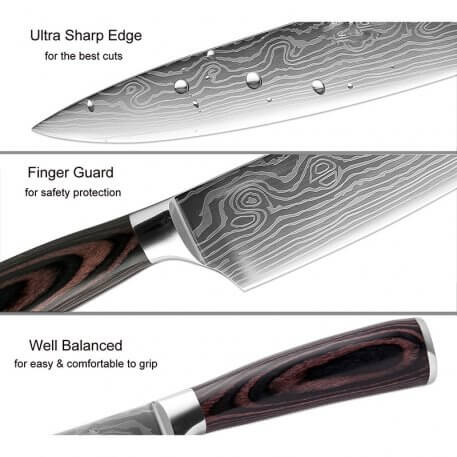 XITUO 5 PCS Kitchen Knives Sets Japanese Damascus Steel Pattern Chef Knife Santoku Cleaver Paring Slicing Utility Fish Tool Gift