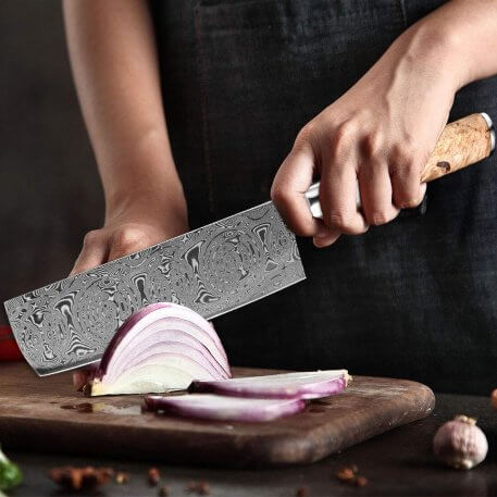 XITUO Kitchen Chef Knife Powder Damascus Steel Rose Pattern Professional Chinese Sharp Cleaver Utility Knives Transparent Handle