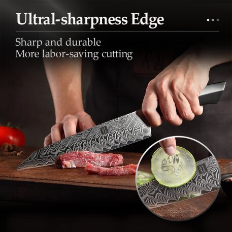 """XINZUO 8.3"""" inch Carving Knife VG10 Damascus Steel Slicing Master Knives Kitchen Cutlery Black G10 + Mosaic Brass Rivet Handle"""