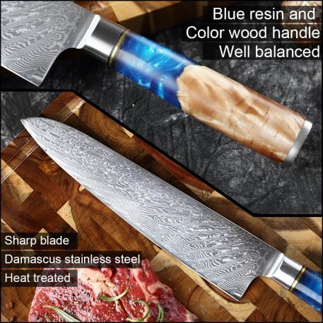 XITUO Ultra Sharp Damascus Steel VG10 Chef Knife Paring Knife Vegetable Kitchen knife Blue Resin Color Wood Handle Cooking Tool