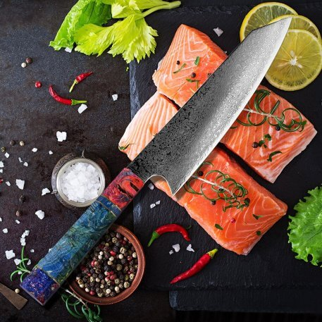 """XITUO Damascus Chef's Knife 8""""inch Japanese Damascus Steel Salmon Slicing Kitchen knife Meat Cleaver Santoku Solidified Wood HD"""