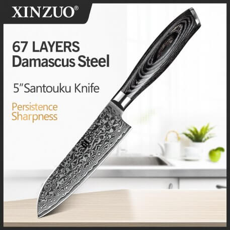 """XINZUO 5"""" Santoku Knives 67 Layers Damascus Steel Japanese Style Chef Kitchen Knife Pakkawood Handle for Vegetables Forged Steel"""
