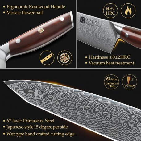 XINZUO 5 PCS Kitchen Knives Sets Damascus Steel Chef Santoku Knife Sets with 2020 New Natural Acacia Wood Magnetic Knife Holder