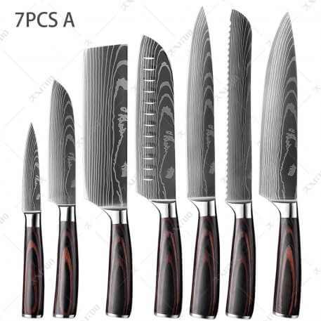 XITUO Kitchen Knife Set Japanese Chef Knives Stainless Steel Cleaver Butcher Santoku Knife Tool Laser Damascus Pattern Blade New