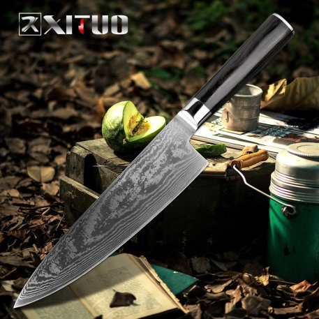 XITUO Damascus Knives Chef Knife Japanese Kitchen Knife Damascus VG10 67 Layer Stainless Steel Knife Ultra Sharp Sashimi Cleaver
