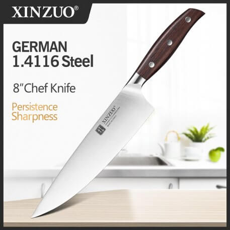 XINZUO 8'' Chef Knife Germany DIN 1.4116 Stainless Forged Steel Kitchen Knives Chef's Knife Kitchen Gyuto Knife
