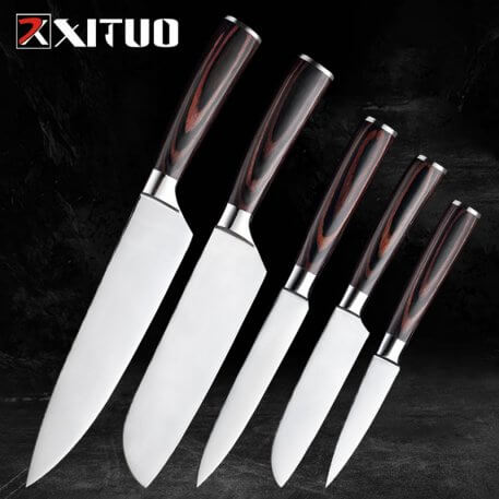 XITUO Kitchen Knife Set Stainless Steel Paring Utility Santoku Chef Sliced fruit knife Bread Knives Japanese Wooden Tool Gift Pr
