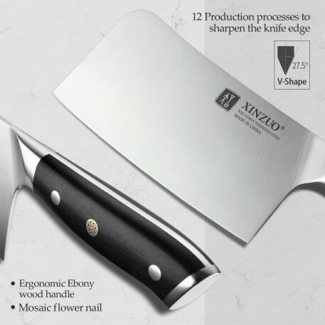 XINZUO 6.5'' inch Chopper Knife High Carbon X5Cr15Mov Steel Stainless Steel Knives Butcher Cleaver Meat Vegetables Ebony Handle