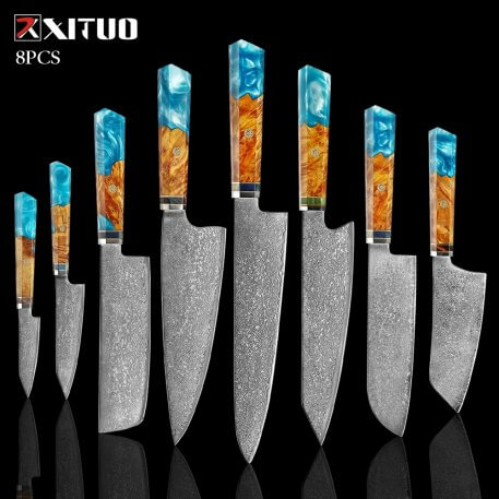 XITUO Damascus Knife Set Kitchen Knife Damascus Steel VG10 Chef Knife Santoku Knives Japanese Knife Home kitchen tools best gift