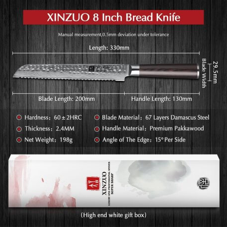 """XINZUO 8"""" inch Bread Knife 67 layers Damascus Stainless Steel Stria Hammer Kitchen Knife Pakka Wood Handle VG10 Cake Knife"""