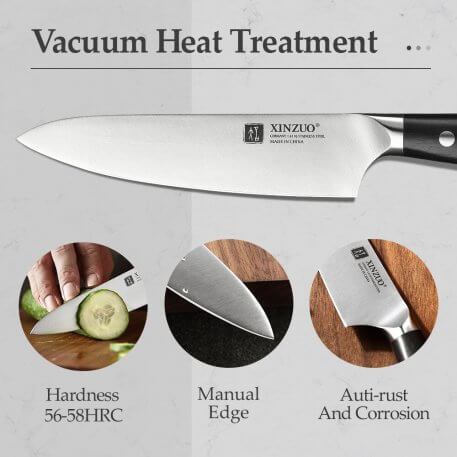 XINZUO Kitchen 4pcs Stainless Steel Knives Set Chef Cleaver Utility Santoku Knives Japanese Style Cooking Tools Ebony Handle