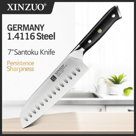 XINZUO 7'' inch Santoku Knife Stainless Steel Kitchen Knives Brand Din 1.4116 Cleaver Slicing Chef Knife with Ebony Handle