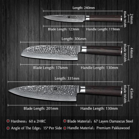 XINZUO 3 PCS Kitchen Knives Sets Damascus Steel Knife Chef Gyuto Steak Knife Stainless Steel Cleaver BBQ Tools Pakkawood Handle