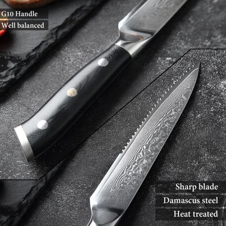 XITUO Damascus steel steak knife g10 handle knife set home dinner knife professional high quality Damascus knife