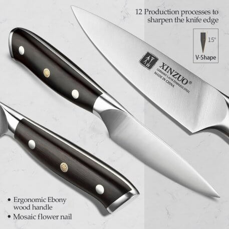 """XINZUO 3.5"""" Paring Knife Germany 1.4116 Stainless Steel Professional Stainless Steel Fruit Paring Knife Kitchen Ergonomic Handle"""