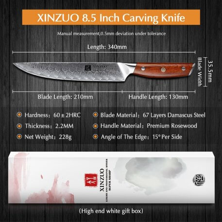 """XINZUO 8.5"""" inch Cleaver Knife Damascus Stainless Steel Kitchen Knife Cooking Tools Meat Sashimi Knives with Rosewood Handle"""