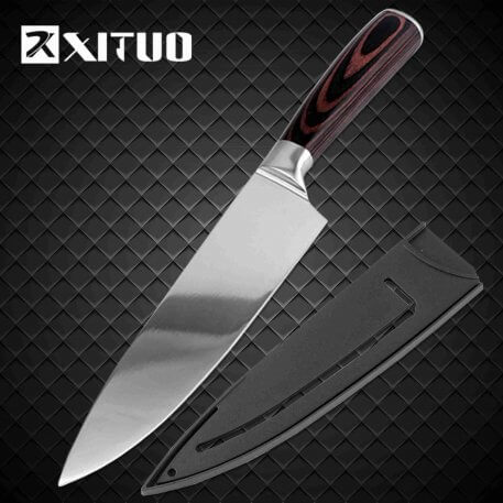 XITUO Kitchen knife Chef Knives 8 inch Japanese High Carbon Stainless Steel Cleaver Vegetable Santoku Knife Utility Slicing Tool