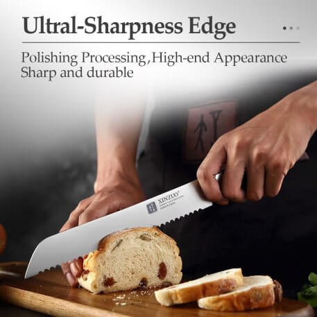 XINZUO Germany 1.4116 Steel 8'' inch Serrated Bread Kitchen Knives Steel Serrated Design Cutter For Cutting Bread Cheese Cake