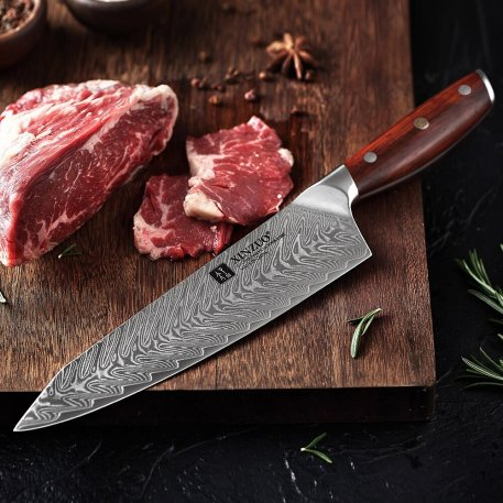 XINZUO 8.5'' in Chef Knife Damascus Japanese 67 Layer Kitchen Chef Knife Rosewood Handle Ultra Sharp VG10 Stainless Steel Knives