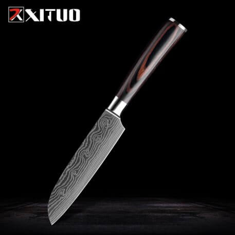 XITUO stainless steel kitchen knives set Japanese chef knife Damascus steel Pattern Utility Paring Santoku Slicing knife Health