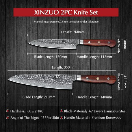 XINZUO 2 PCS Kitchen Knives Chef Set Damascus Forged Steel Chef Santoku Utility Knife Kitchen Stainless Steel Rose Wood Handle