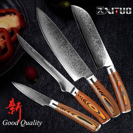 XITUO Japanese vg10 Damascus Knife Santoku High Carbon Stainless Steel Kitchen Knife Cuchillo Boning Slicing Utility Cleaver New