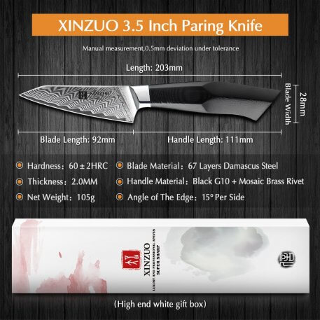 """XINZUO 3.5"""" inches Paring Knife Damascus Steel Razor Sharp Blade G10 Handle Japanese VG10 Steel Kitchen Knives Chef's Tool Cut"""