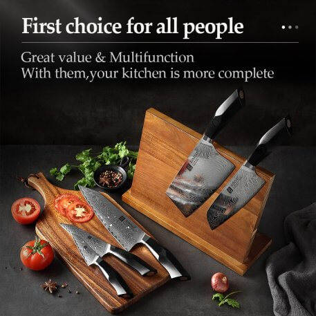XINZUO 6 PCS Best Kitchen Knives Sets With Excellent Acacia Wood BlocK Super Sharp Japanese Damascus Steel Knives Set G10 Handle