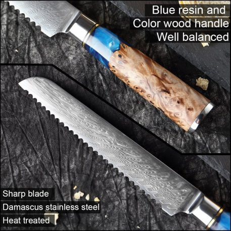 XITUO Damascus Steel VG10 Bread Knife Chef Knife Meat Fillet Salmon Fish Blue Resin Color Wood Handle Kitchen Knife Cooking Tool