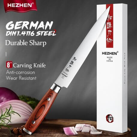 HEZHEN 8 Inches Carving Knives High Carbon German Stainless Steel Pakka Wood Handle Beautiful gift box Kitchen Cook Knife